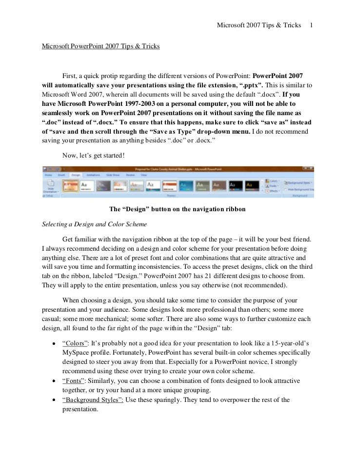 Microsoft 2007 Tips & Tricks       1Microsoft PowerPoint 2007 Tips & Tricks       First, a quick protip regarding the diff...