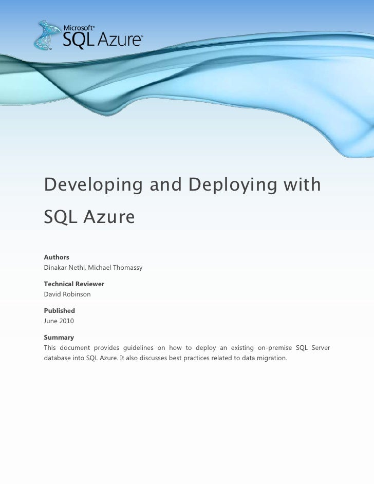 Microsoft SQL Azure - Developing And Deploying With SQL Azure Whitepaper