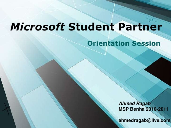 Microsoft Student Partner Orientation Presentation