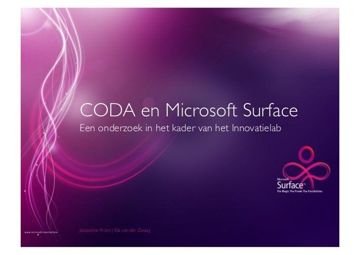 CODA en Microsoft SurfaceEen onderzoek in het kader van het InnovatielabJacqueline Krans   Ella van der Zwaag