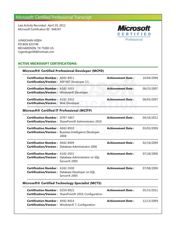Last Activity Recorded : April 10, 2012Microsoft Certification ID : 948397JUNGCHAN HSIEHPO BOX 833746RICHARDSON, TX 75083 ...