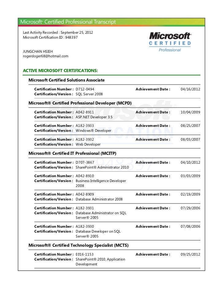 Last Activity Recorded : September 25, 2012Microsoft Certification ID : 948397JUNGCHAN HSIEHrogerdoger68@hotmail.comACTIVE...