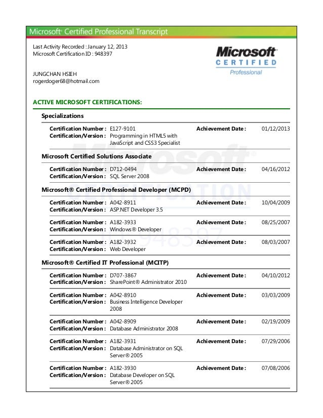 Last Activity Recorded : January 12, 2013Microsoft Certification ID : 948397JUNGCHAN HSIEHrogerdoger68@hotmail.comACTIVE M...