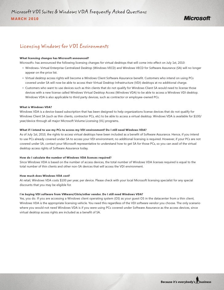 Microsoft VDI Suites & Windows VDA Frequently Asked Questions MARC H 2010        Licensing Windows for VDI Environments   ...