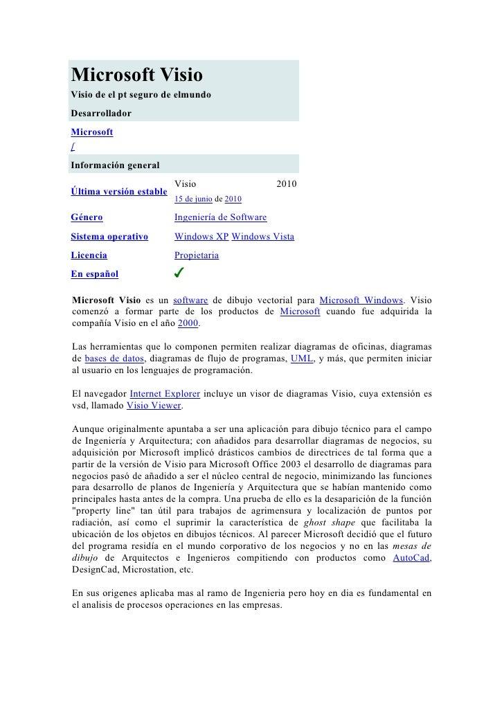 Microsoft VisioVisio de el pt seguro de elmundoDesarrolladorMicrosoft[Información general                         Visio   ...