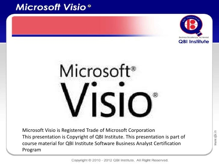 Microsoft Visio is Registered Trade of Microsoft CorporationThis presentation is Copyright of QBI Institute. This presenta...
