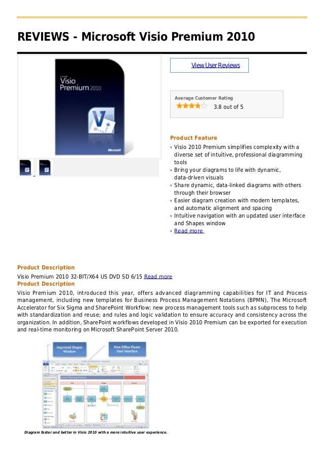 REVIEWS - Microsoft Visio Premium 2010ViewUserReviewsAverage Customer Rating3.8 out of 5Product FeatureVisio 2010 Premium ...