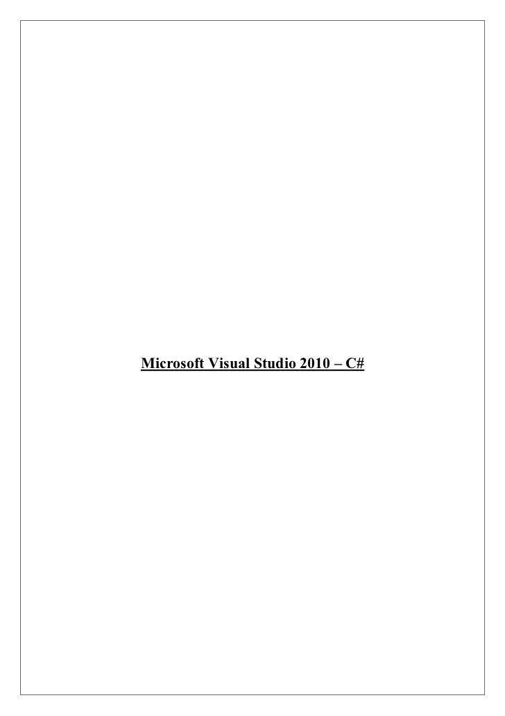 Microsoft Visual Studio 2010 – C#