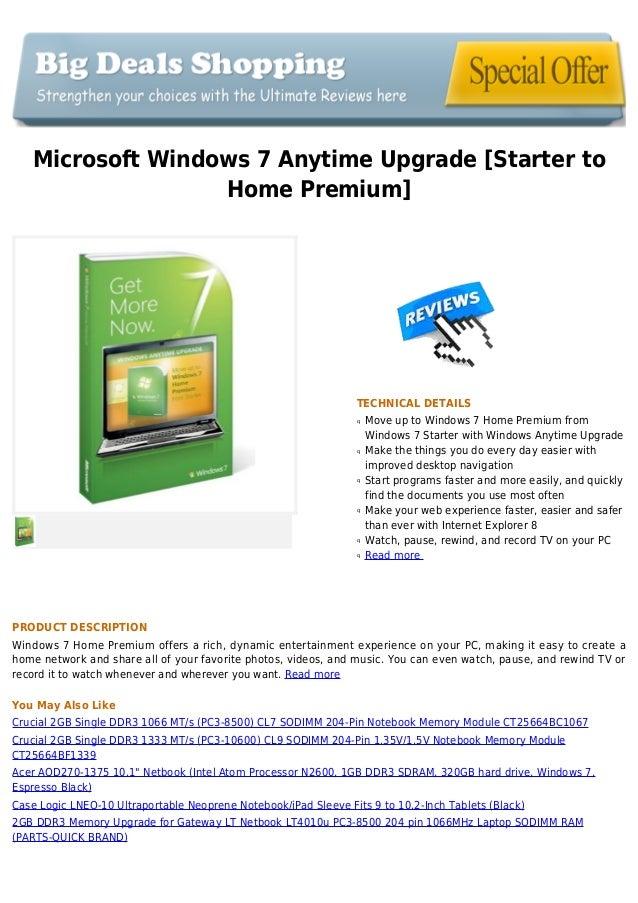 Microsoft windows 7 anytime upgrade [starter to home premium]