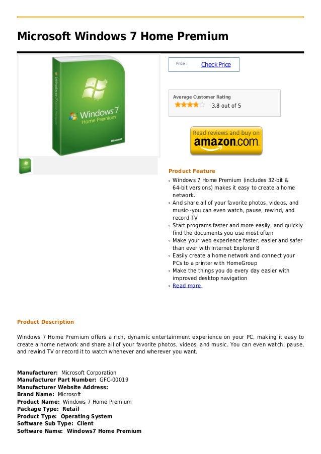 Microsoft Windows 7 Home Premium                                                             Price :                      ...