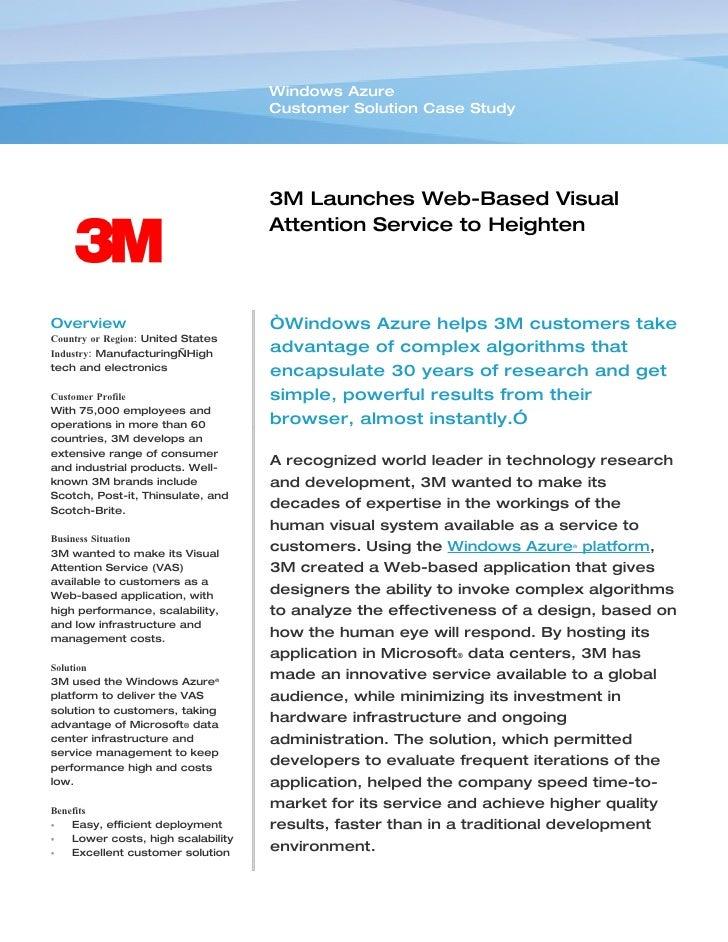 Windows Azure                                     Customer Solution Case Study                                         3M ...