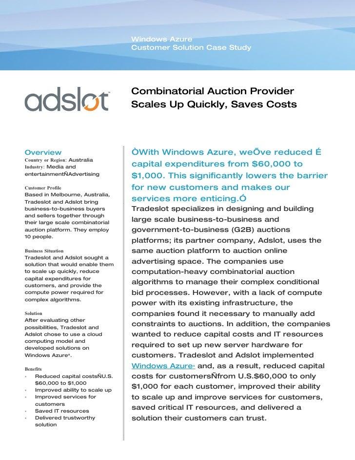Windows Azure                                    Customer Solution Case Study                                        Combi...