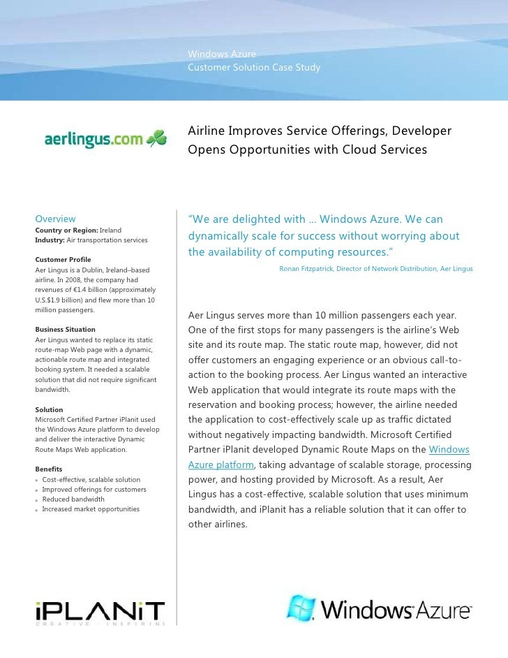 Windows AzureCustomer Solution Case Study00Airline Improves Service Offerings, Developer Opens Opportunities with Cloud Se...
