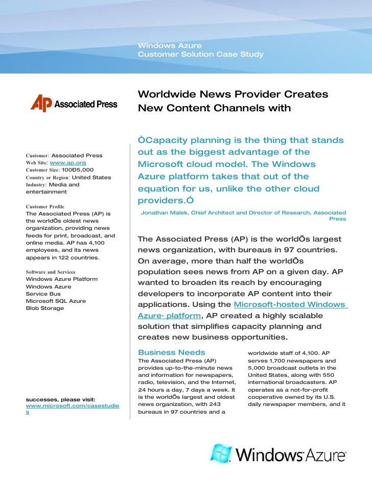 Microsoft Windows Azure - Associated Press Media & Entertainment Creates New Content Channels Case Study