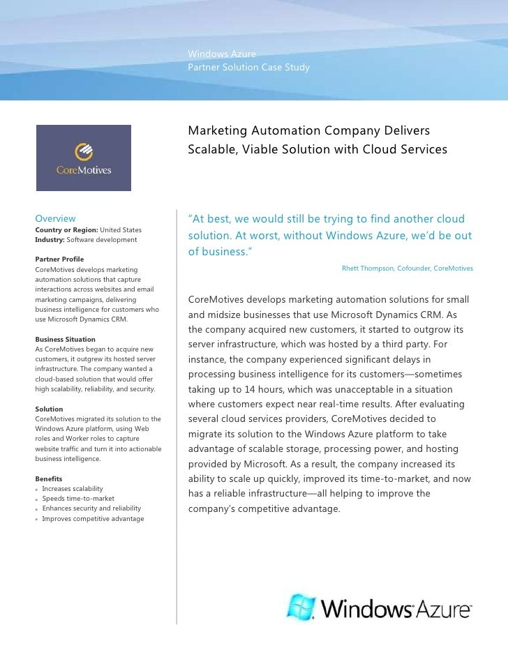 Windows AzurePartner Solution Case Study00Marketing Automation Company Delivers Scalable, Viable Solution with Cloud Servi...