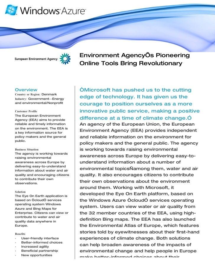 Microsoft Windows Azure - Eurpean Environment Agency bring Revolutionary Data To Citizens Case Study