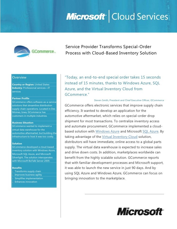 Microsoft Windows Azure - GCommerce IT Services Transforms Special Order Process Case Study
