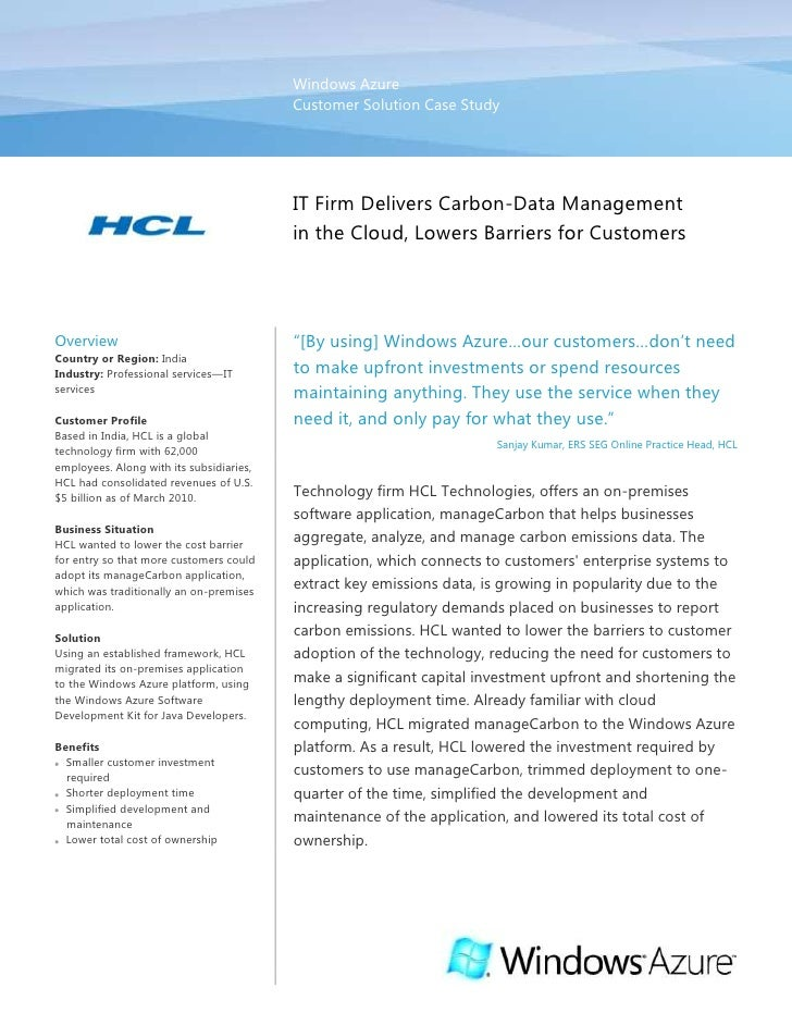 Windows AzureCustomer Solution Case Study00IT Firm Delivers Carbon-Data Management in the Cloud, Lowers Barriers for Custo...