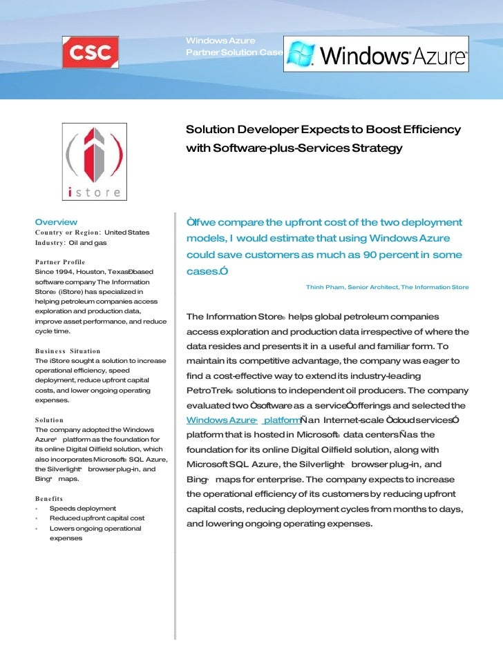Microsoft Windows Azure - istore Boost Efficiency With Software Plus Services Case Study