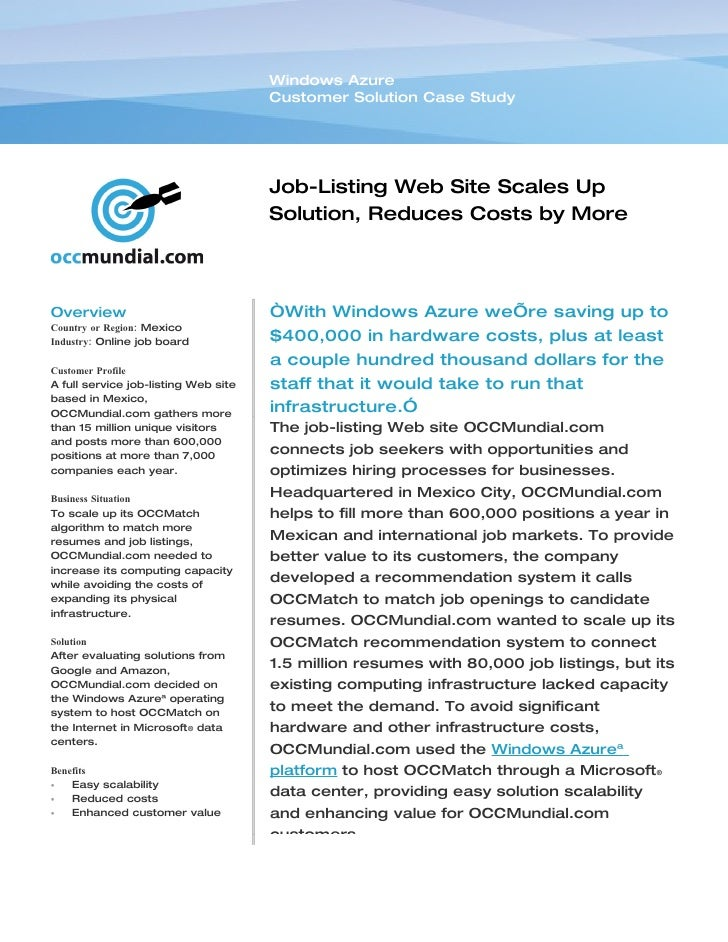 Windows Azure                                       Customer Solution Case Study                                          ...