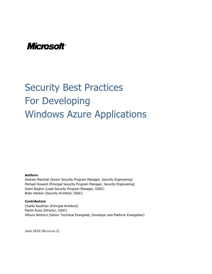 Microsoft Windows Azure - Security Best Practices for Developing Windows Azure Applications Whitepaper