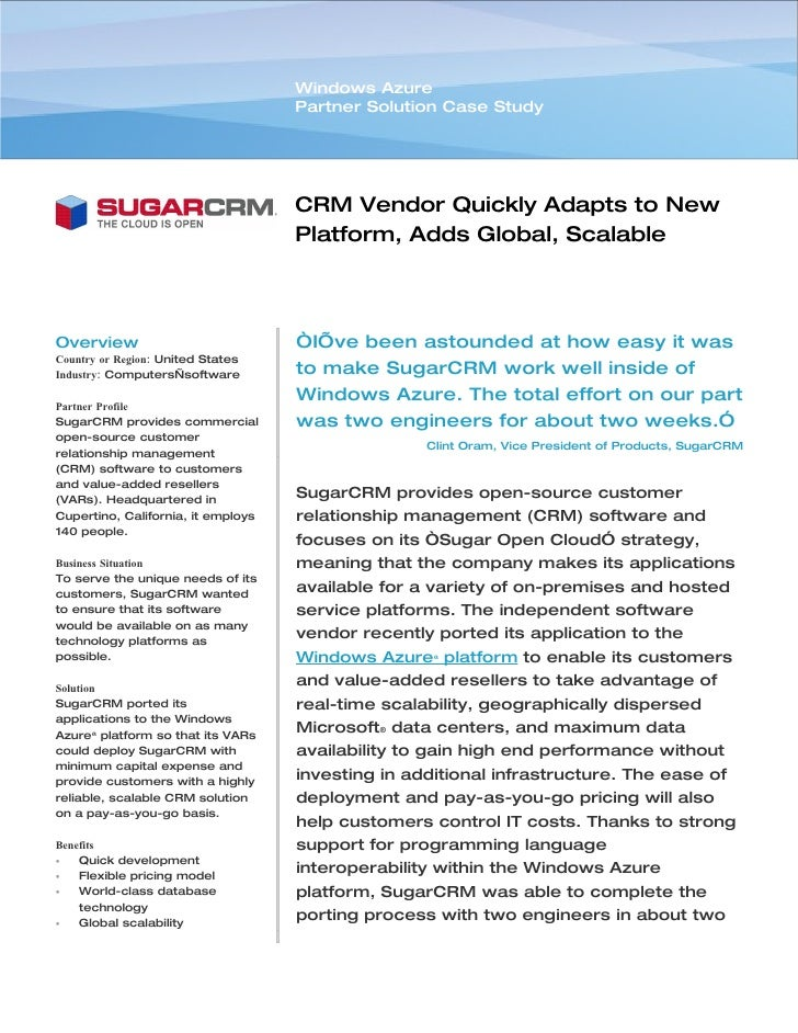 Microsoft Windows Azure - SugarCRM Computers Adds Global, Scalable Delivery Channel Case Study