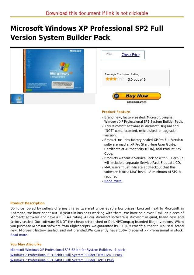 Microsoft windows xp professional sp2 full version system builder pack