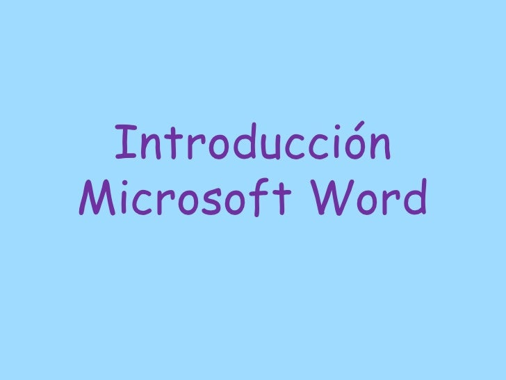 IntroducciónMicrosoft Word