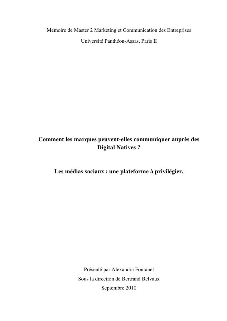 Mémoire de Master 2 Marketing et Communication des Entreprises                Université Panthéon-Assas, Paris IIComment l...