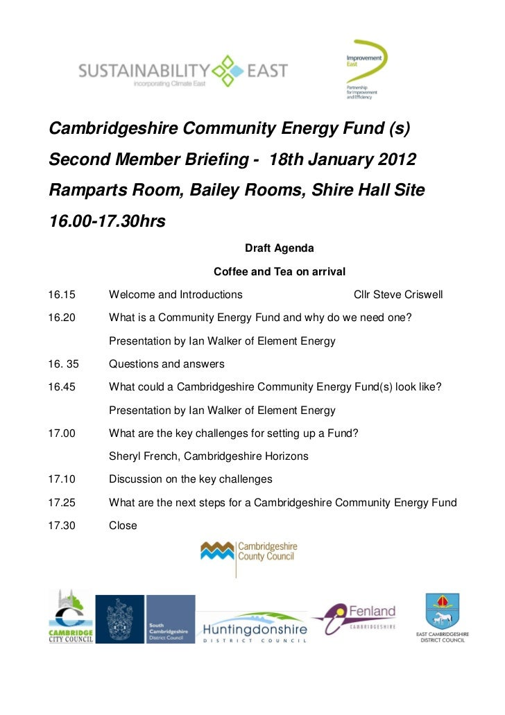 Cambridgeshire Community Energy Fund (s)Second Member Briefing - 18th January 2012Ramparts Room, Bailey Rooms, Shire Hall ...