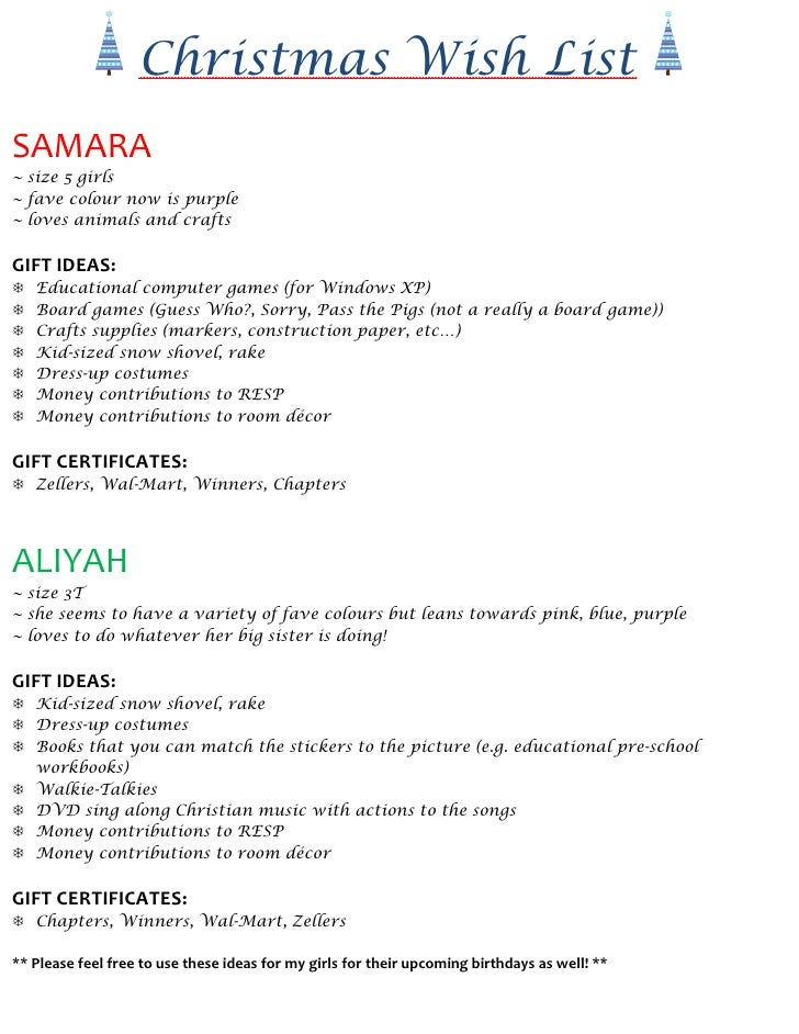 Christmas Wish List SAMARA ~ size 5 girls ~ fave colour now is purple ~ loves animals and crafts  GIFT IDEAS:    Education...