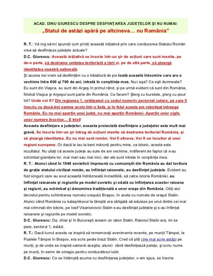 Academicianul Dinu C. Giurescu  despre  desfiintarea judetelor Romaniei