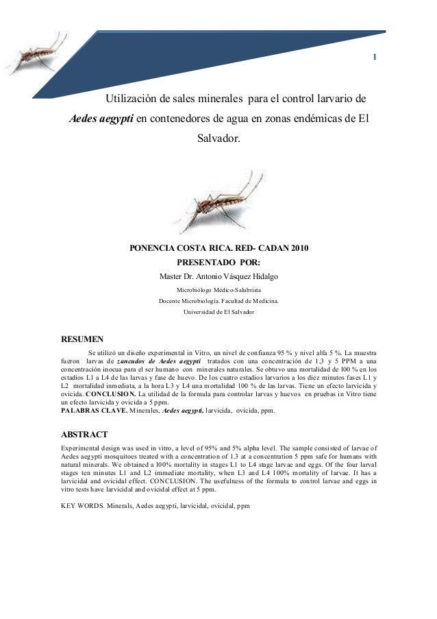 1 Utilización de sales minerales para el control larvario de Aedes aegypti en contenedores de agua en zonas endémicas de E...