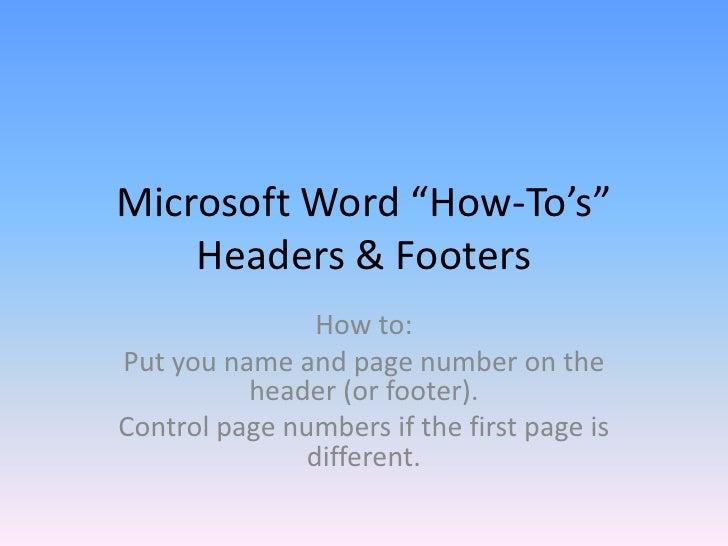 Microsoft Word - Paging, Headers, Footers