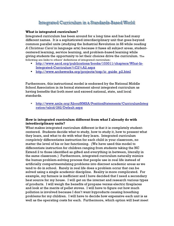 Integrated Curriculum in a Standards-Based World