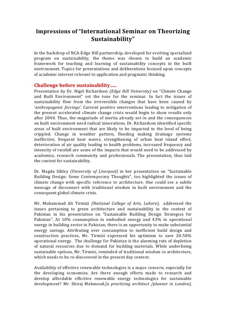"""Impressions of """"International Seminar on Theorizing                               Sustainability""""  In the backdrop of NCA-..."""