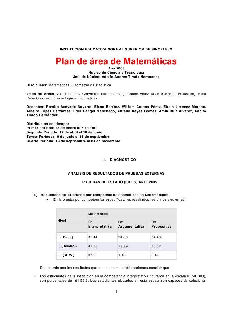 INSTITUCIÓN EDUCATIVA NORMAL SUPERIOR DE SINCELEJO                   Plan de área de Matemáticas                          ...
