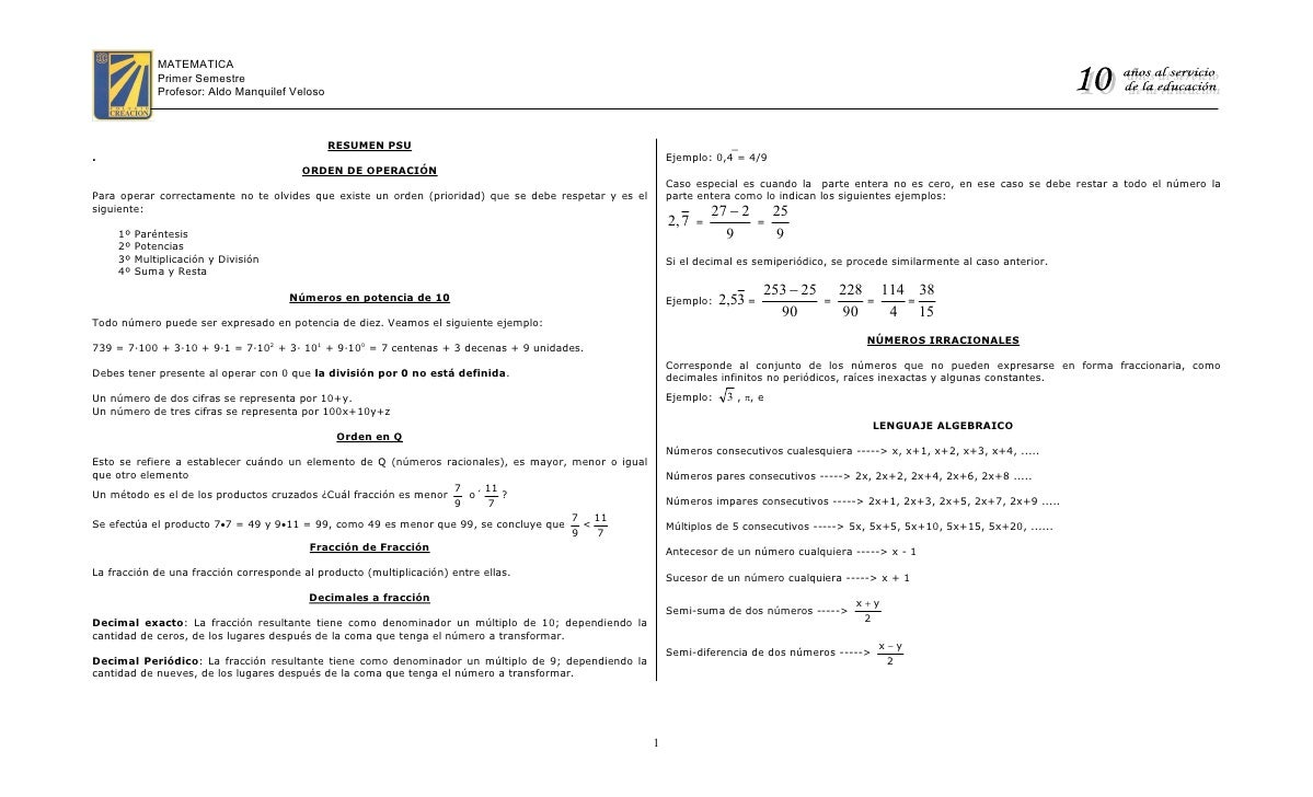 ″ ɿ             MATEMATICA               Primer Semestre               Profesor: Aldo Manquilef Veloso                    ...