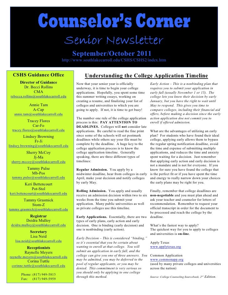 Counselor's Corner                                       Senior Newsletter                                          Septem...
