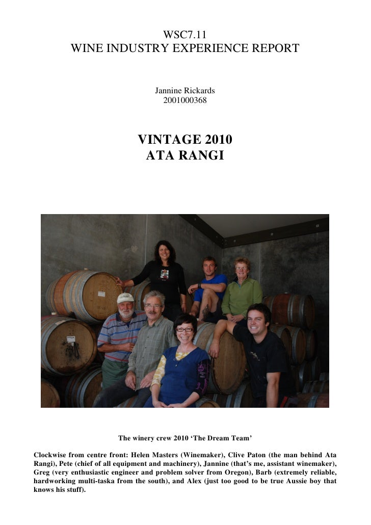 WSC7.11            WINE INDUSTRY EXPERIENCE REPORT                                        Jannine Rickards                ...