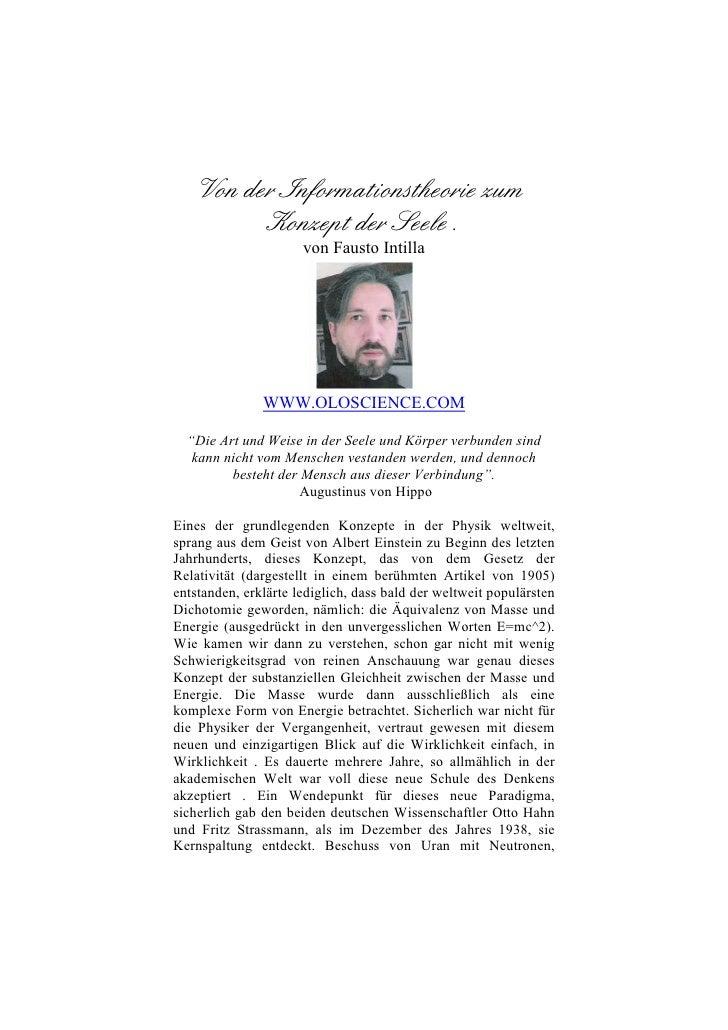 Von der Informationstheorie zum           Konzept der Seele.                       von Fausto Intilla                    W...