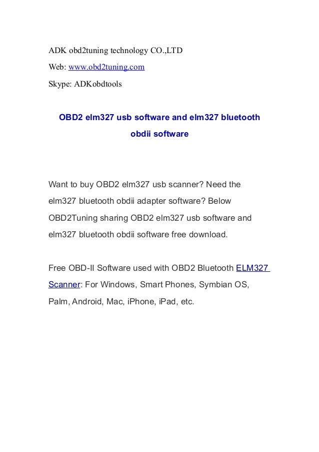 OBD2 elm327 usb software and elm327 bluetooth obdii software