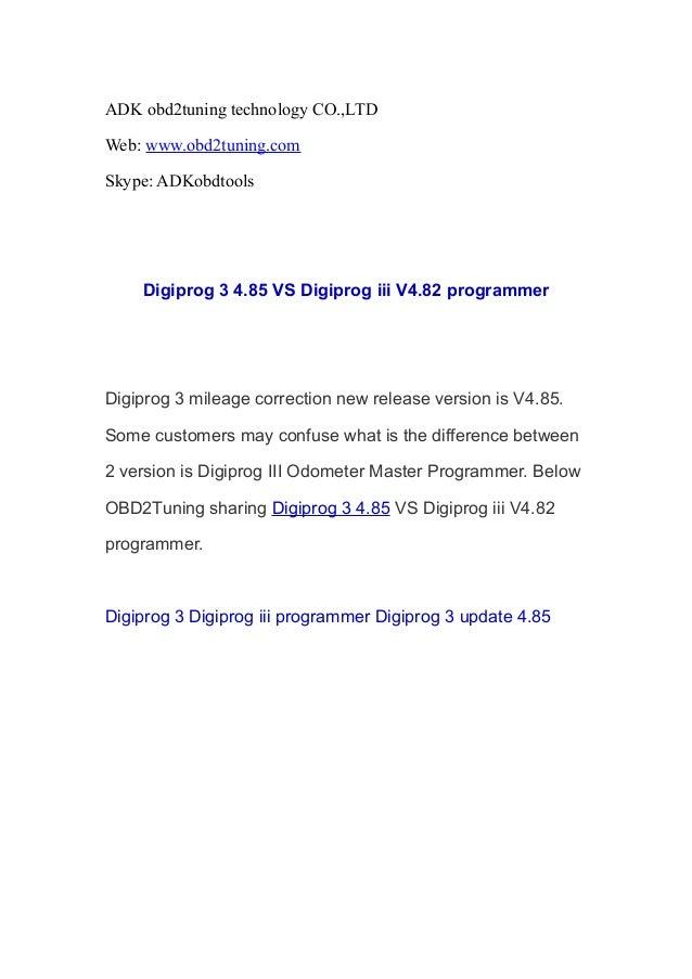 Digiprog 3 4.85 VS Digiprog iii V4.82 programmer