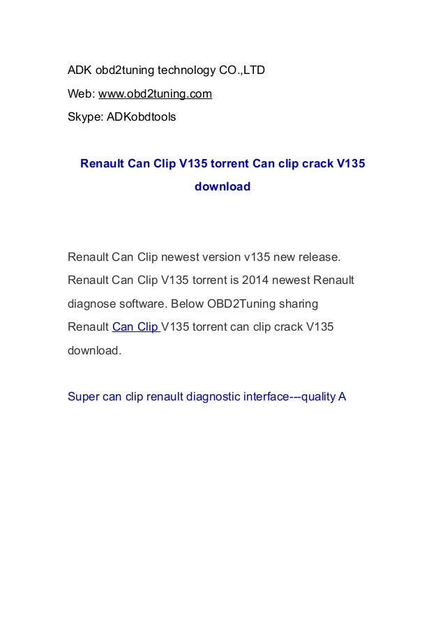 Renault Can Clip V135 torrent Can clip crack V135 download