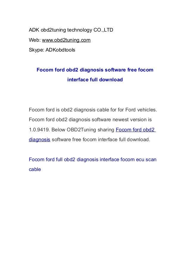 ADK obd2tuning technology CO.,LTD Web: www.obd2tuning.com Skype: ADKobdtools  Focom ford obd2 diagnosis software free foco...