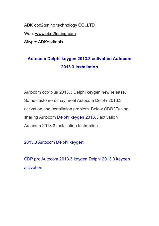 Autocom Delphi keygen 2013.3 activation Autocom 2013.3 Installation