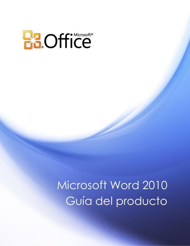 Microsoft Word 2010 Guía del producto