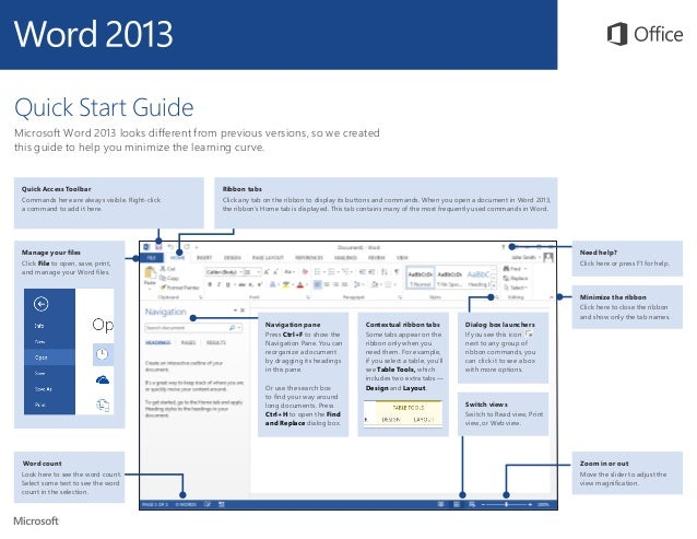 word 2013 quick start guide Browse and download our free office 2013 quick start guides while you're viewing any guide, you can save a copy of it to your computer for later viewing, navigate through all of its pages (each guide has several), zoom in to get a closer look at any of the screenshots, or search for feature names or keywords to quickly find something in the .