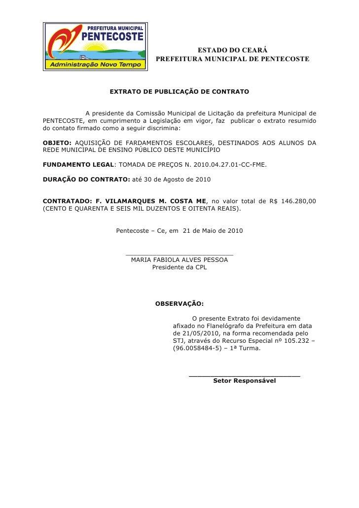 ESTADO DO CEARÁ                                     PREFEITURA MUNICIPAL DE PENTECOSTE                         EXTRATO DE ...