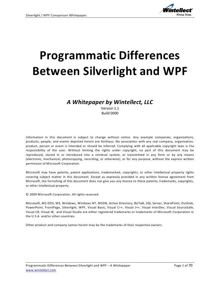Silverlight / WPF Comparison Whitepaper.          Programmatic Differences     Between Silverlight and WPF                ...